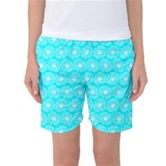 Gerbera Daisy Vector Tile Pattern Women s Basketball Shorts