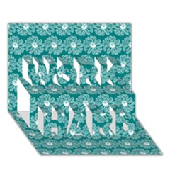 Gerbera Daisy Vector Tile Pattern Work Hard 3d Greeting Card (7x5)