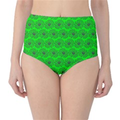 Gerbera Daisy Vector Tile Pattern High-Waist Bikini Bottoms