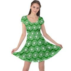 Gerbera Daisy Vector Tile Pattern Cap Sleeve Dresses