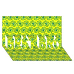 Gerbera Daisy Vector Tile Pattern BEST BRO 3D Greeting Card (8x4)