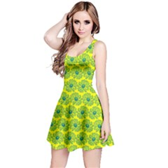 Gerbera Daisy Vector Tile Pattern Reversible Sleeveless Dresses