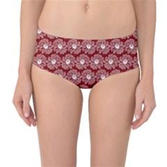 Gerbera Daisy Vector Tile Pattern Mid-Waist Bikini Bottoms