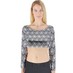 Gerbera Daisy Vector Tile Pattern Long Sleeve Crop Top