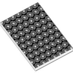 Black And White Gerbera Daisy Vector Tile Pattern Large Memo Pads