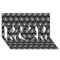 Black And White Gerbera Daisy Vector Tile Pattern Mom 3d Greeting Card (8x4)