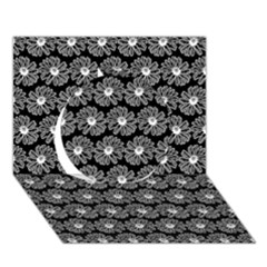 Black And White Gerbera Daisy Vector Tile Pattern Circle 3d Greeting Card (7x5)