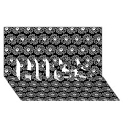 Black And White Gerbera Daisy Vector Tile Pattern HUGS 3D Greeting Card (8x4)