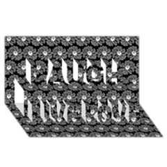 Black And White Gerbera Daisy Vector Tile Pattern Laugh Live Love 3D Greeting Card (8x4)