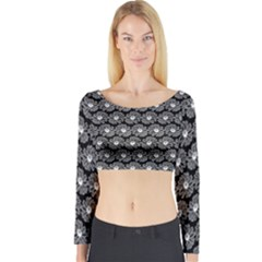 Black And White Gerbera Daisy Vector Tile Pattern Long Sleeve Crop Top