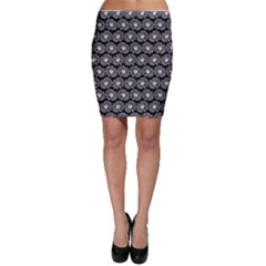 Black And White Gerbera Daisy Vector Tile Pattern Bodycon Skirts