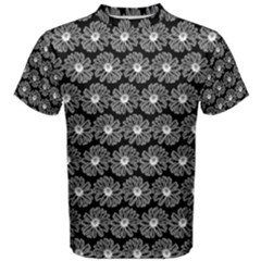 Black And White Gerbera Daisy Vector Tile Pattern Men s Cotton Tees
