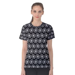 Black And White Gerbera Daisy Vector Tile Pattern Women s Cotton Tees