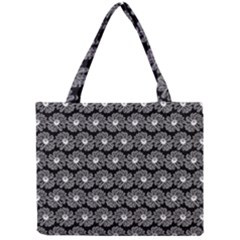 Black And White Gerbera Daisy Vector Tile Pattern Tiny Tote Bags