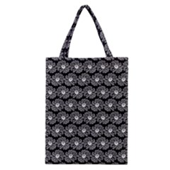 Black And White Gerbera Daisy Vector Tile Pattern Classic Tote Bags