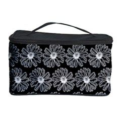 Black And White Gerbera Daisy Vector Tile Pattern Cosmetic Storage Cases