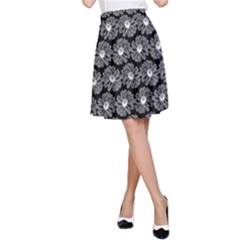 Black And White Gerbera Daisy Vector Tile Pattern A-Line Skirts