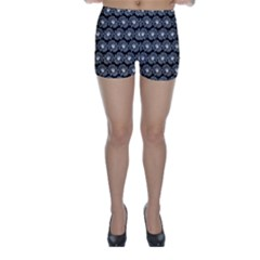 Black And White Gerbera Daisy Vector Tile Pattern Skinny Shorts