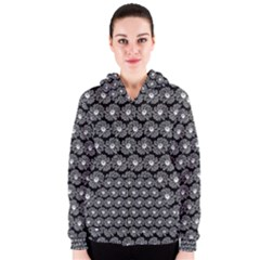 Black And White Gerbera Daisy Vector Tile Pattern Women s Zipper Hoodies