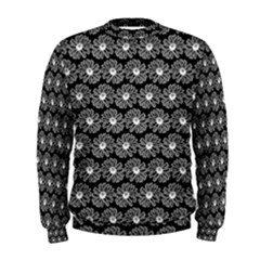 Black And White Gerbera Daisy Vector Tile Pattern Men s Sweatshirts