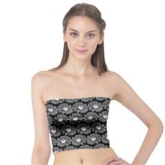 Black And White Gerbera Daisy Vector Tile Pattern Women s Tube Tops