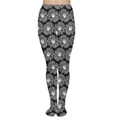 Black And White Gerbera Daisy Vector Tile Pattern Women s Tights