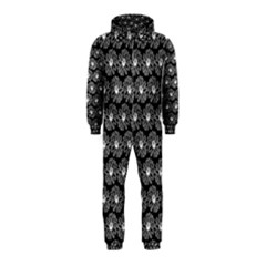 Black And White Gerbera Daisy Vector Tile Pattern Hooded Jumpsuit (kids)