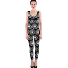 Black And White Gerbera Daisy Vector Tile Pattern OnePiece Catsuits