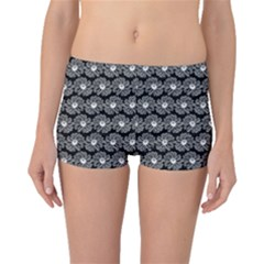 Black And White Gerbera Daisy Vector Tile Pattern Boyleg Bikini Bottoms