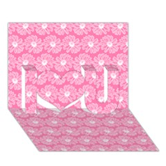 Pink Gerbera Daisy Vector Tile Pattern I Love You 3d Greeting Card (7x5)