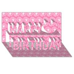 Pink Gerbera Daisy Vector Tile Pattern Happy Birthday 3d Greeting Card (8x4)