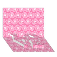 Pink Gerbera Daisy Vector Tile Pattern LOVE Bottom 3D Greeting Card (7x5)