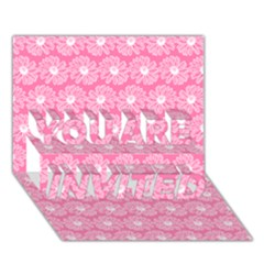 Pink Gerbera Daisy Vector Tile Pattern You Are Invited 3d Greeting Card (7x5)