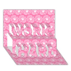 Pink Gerbera Daisy Vector Tile Pattern Work Hard 3d Greeting Card (7x5)