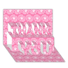 Pink Gerbera Daisy Vector Tile Pattern Thank You 3d Greeting Card (7x5)