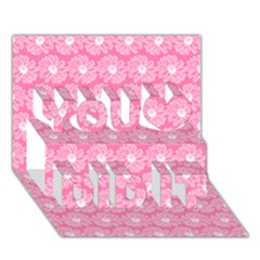 Pink Gerbera Daisy Vector Tile Pattern You Did It 3d Greeting Card (7x5)