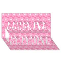 Pink Gerbera Daisy Vector Tile Pattern Congrats Graduate 3d Greeting Card (8x4)