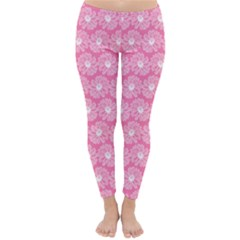 Pink Gerbera Daisy Vector Tile Pattern Winter Leggings