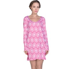 Pink Gerbera Daisy Vector Tile Pattern Long Sleeve Nightdresses