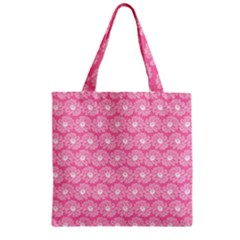 Pink Gerbera Daisy Vector Tile Pattern Zipper Grocery Tote Bags