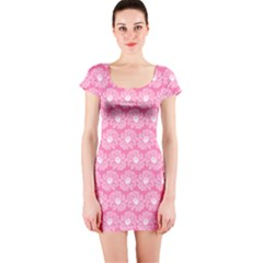 Pink Gerbera Daisy Vector Tile Pattern Short Sleeve Bodycon Dresses