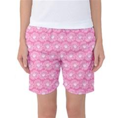 Pink Gerbera Daisy Vector Tile Pattern Women s Basketball Shorts