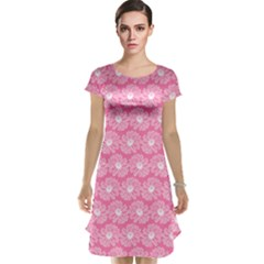 Pink Gerbera Daisy Vector Tile Pattern Cap Sleeve Nightdresses