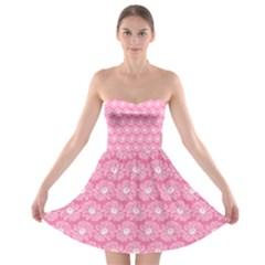 Pink Gerbera Daisy Vector Tile Pattern Strapless Bra Top Dress