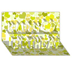 Heart 2014 0906 Happy Birthday 3d Greeting Card (8x4)
