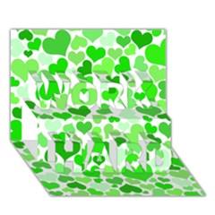 Heart 2014 0911 WORK HARD 3D Greeting Card (7x5)