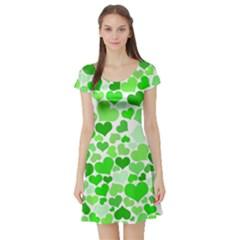 Heart 2014 0911 Short Sleeve Skater Dresses