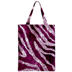 Purple Zebra Print Bling Pattern  Zipper Classic Tote Bags