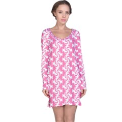 Cute Candy Illustration Pattern For Kids And Kids At Heart Long Sleeve Nightdresses