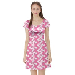 Cute Candy Illustration Pattern For Kids And Kids At Heart Short Sleeve Skater Dresses